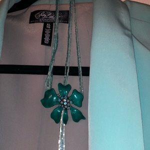 Vintage Teal Blue Flower Necklace
